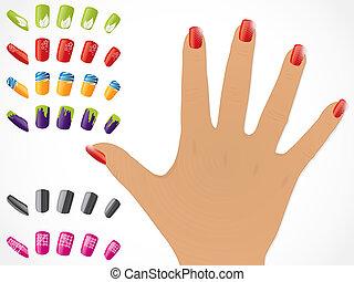 mão feminina, com, pregos pintados