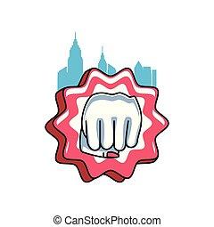 mão feminina, poder, punho, selo