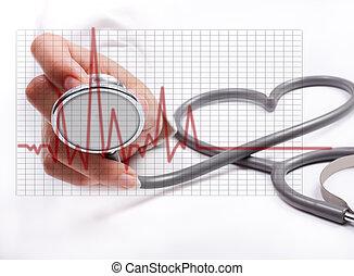 mão feminina, segurando, stethoscope;, cuidado saúde,...