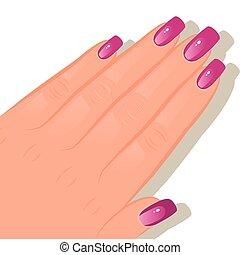 mão, femininas, manicured