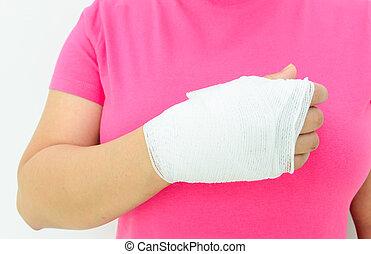 mão, ferimento