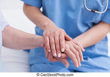 mão, fim, paciente enfermeira, cima, tocar