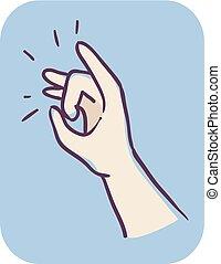 mão, flicking, ilustração, criança