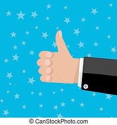 mão, gesto, polegares