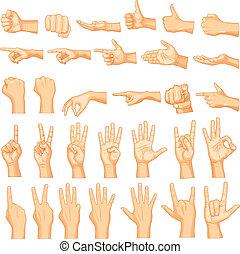 mão, gestos