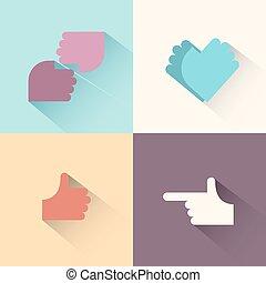 mão, gestos, logotipo, set.