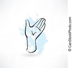 mão, grunge, ícone