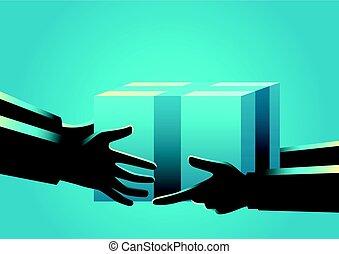 mão, homens, recebendo, entregar, pacote