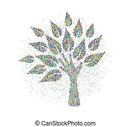 mão humana, árvore, feito, de, coloridos, partículas