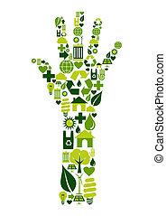 mão humana, com, ambiental, ícones