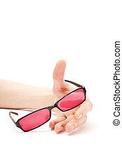 mão humana, com, cor-de-rosa, óculos