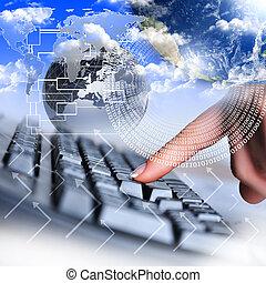mão humana, e, teclado computador