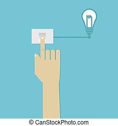 mão humana, imprensa, interruptor, para, ligar