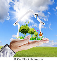 mão humana, mostra, um, casa verde, conceito