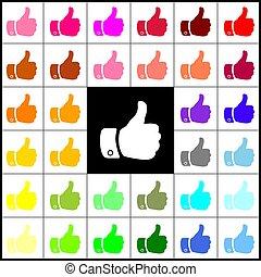 mão, illustration., vector., sinal