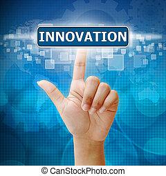 mão, imprensa, ligado, inovação, botão