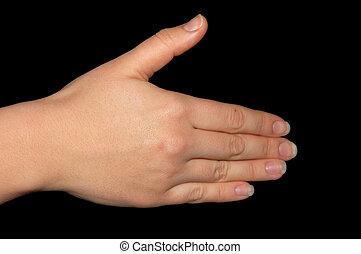 mão, isolado, ligado, experiência preta, clipping-path, included