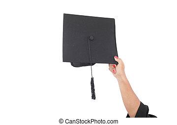 mão, jogar, graduação, chapéus, ar