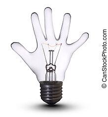 mão, lâmpada, bulbo