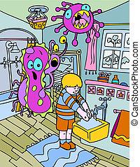mão lavando