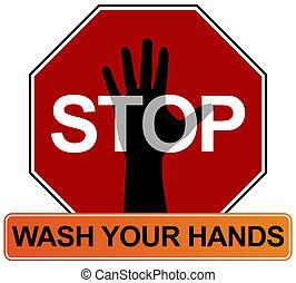 mão lavando, sinal