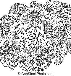 mão, lettering, ano novo, elementos, doodles, experiência.