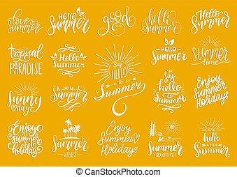 mão, lettering, com, verão, motivational, frases, e, sketches., vetorial, jogo, de, caligrafia, inspirational, citação, collection.