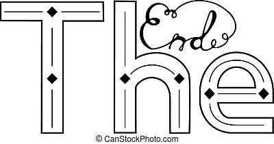mão, lettering, estilo, desenhar, fim, etiqueta, vindima