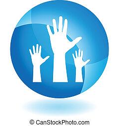 mão levantada