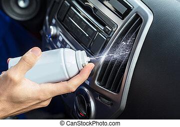 mão, limpeza, condicionador ar