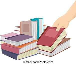 mão, livros, bazar, pico