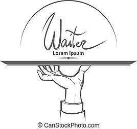 mão, logotipo, garçom