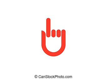 mão, logotipo, modelo