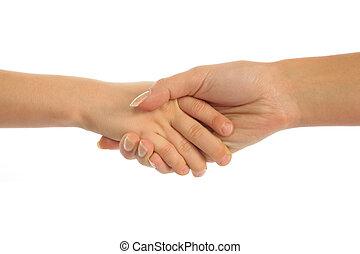 mão, mãe, segurando, filho