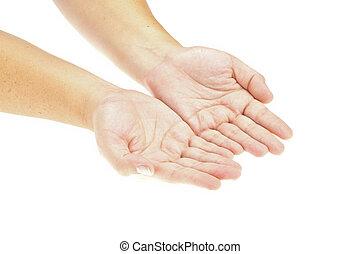 mão, mãos abertas, segurando, um, object., inserção, seu,...