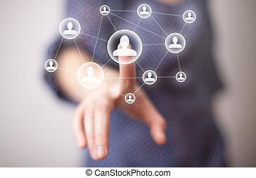 mão, mídia, apertando, ícone, social