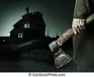 mão., macho, sangue, machado