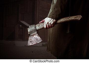 mão, macho, sangue, machado