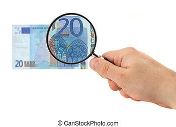 mão, magnificar, 20 nota euro