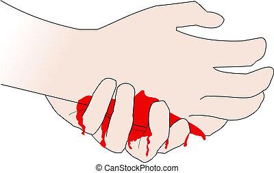 mão, magoado