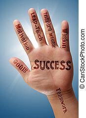 mão, mostra, sucesso, carta fluxo, ligado, seu, mão