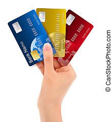 mão, mostrando, cartões, crédito, macho