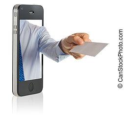 mão, mostrando, um, cartão negócio branco