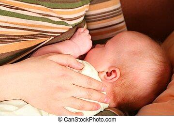 mão, mother\'s, criança