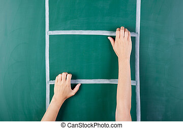 mão mulher, escalando, escada, desenhado, ligado, verde,...