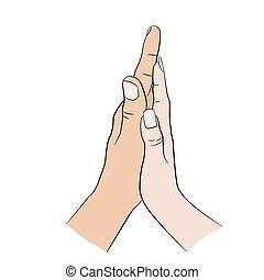 mão., mulher, homem