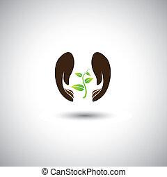 mão mulher, protegendo, planta, -, natureza, conservação, vetorial, graphic., este, ilustração, também, representa, human, preocupação, para, deforestation, ecológico, proteção, protegendo, plantas, e, árvores