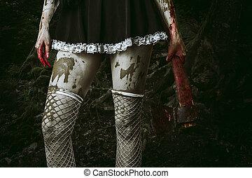 mão mulher, sujo, segurando, machado, sangrento
