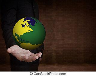 mão, mundo, futebol, xícara segurando
