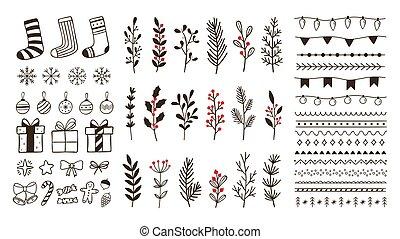 mão, natal, elements., bordas decorativas, inverno, ornamental, desenhado, snowflake, floral, ramos, doodle, jogo, vetorial